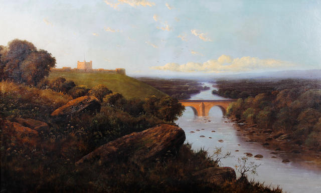 Edward H. Niemann (British, active circa 1863-1887) Richmond Castle and the River Swale