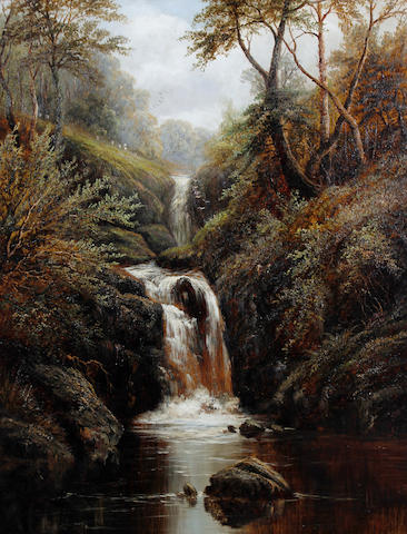 William Mellor (British, 1851-1931) Waterfalls in woodland, possibly the Strid