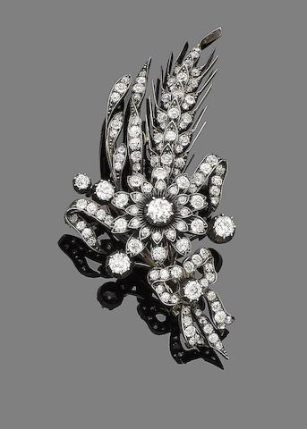A late 19th century diamond spray brooch