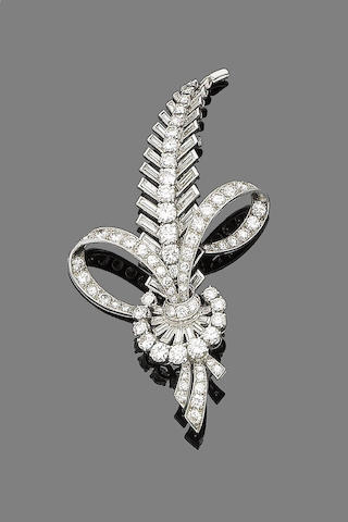 A diamond feather brooch,