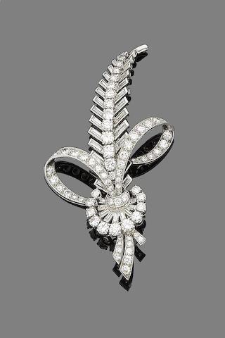 A diamond feather brooch,