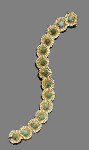 A gold and turquoise bracelet, by Boucheron,