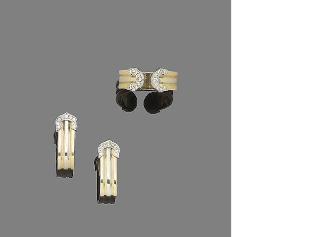 A diamond-set 'Double C Decor' ring and earclip suite, by Cartier