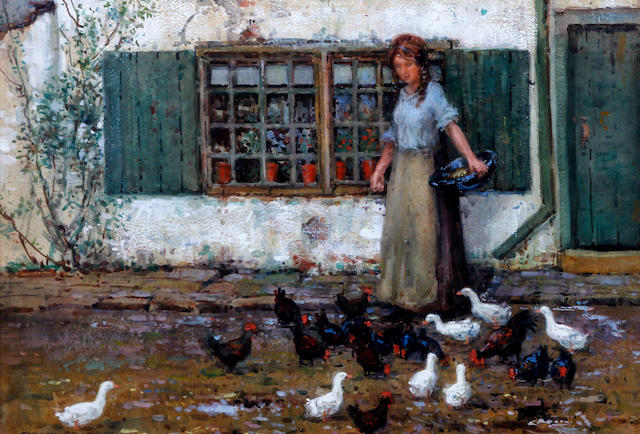 Stanley Royle (British, 1888-1961) Young maid feeding the chickens and ducks