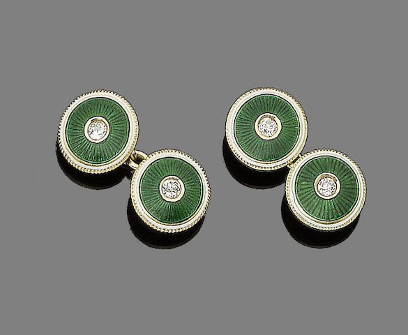 A pair of early 20th century enamel and diamond cufflinks