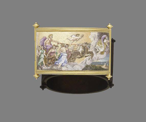 A gold and micromosaic hinged bangle,