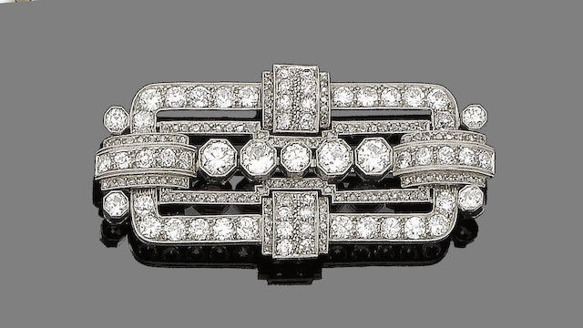 An art deco diamond plaque brooch,