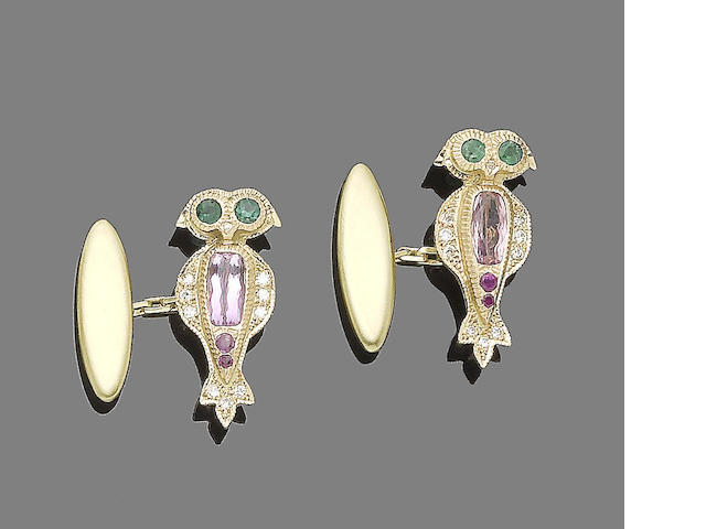 A pair of gem-set cufflinks