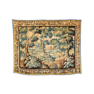 A late 17th/early 18th century Flemish verdure tapestry, 288cm x 230cm