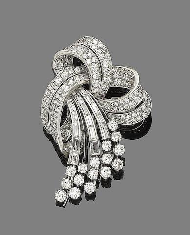 A diamond spray brooch,