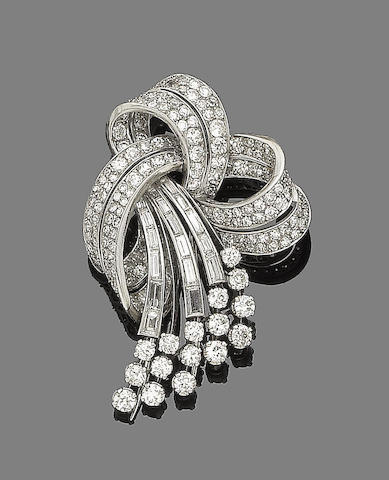 A diamond spray brooch,