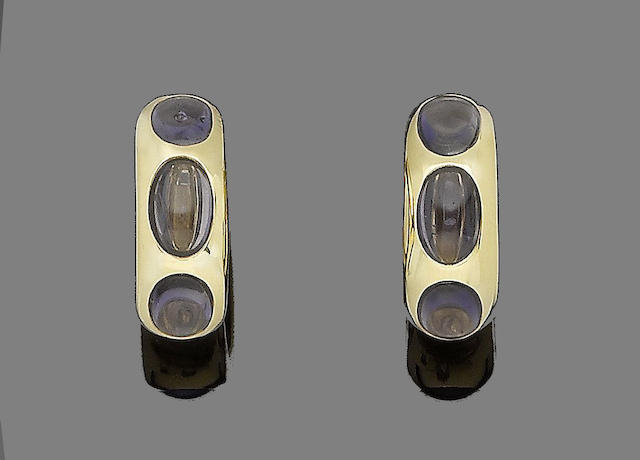 A pair of sapphire earclips, by Pomellato