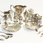 A collection of antique and later silver items,