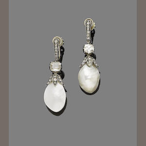 A pair of late 19th century mother-of-pearl and diamond pendent earrings