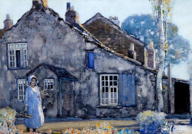 Stanley Royle (British, 1888-1961) Dobbin Hill, Ecclesall, Sheffield A girl in a garden before