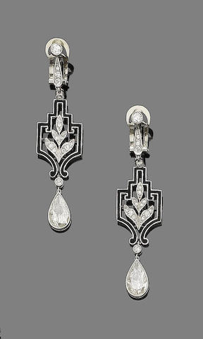 A pair of art deco diamond and enamel pendent earrings,