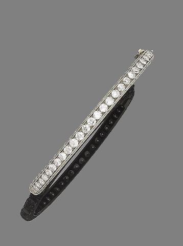 A late 19th century diamond bangle