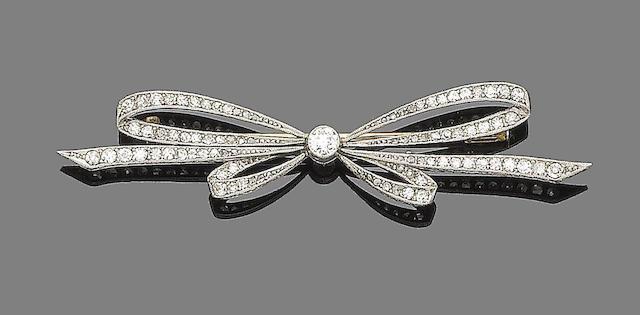 A diamond-set brooch,