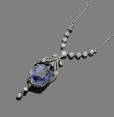A sapphire and diamond pendant necklace,