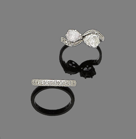 A diamond and fancy pink diamond crossover ring, and a diamond half-hoop ring (2)