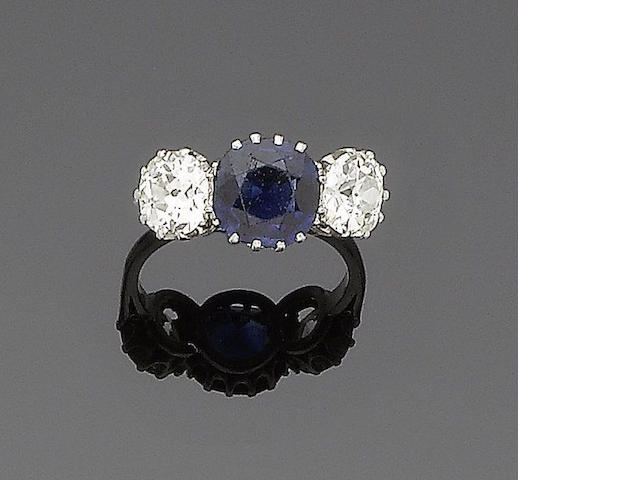 A sapphire and diamond three-stone ring (2)