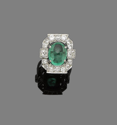 An emerald and diamond dress ring,