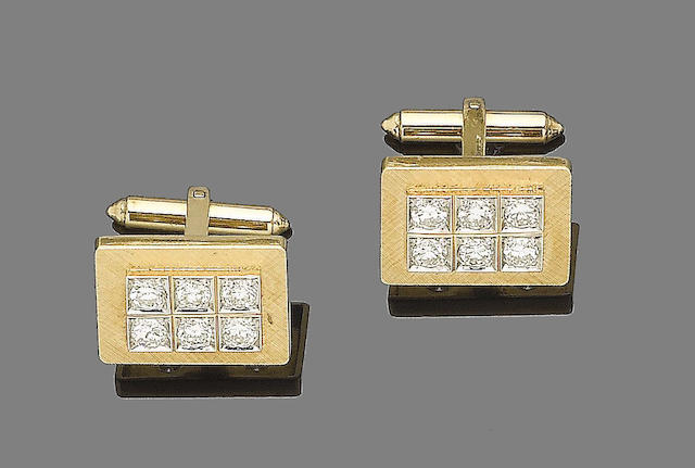 A pair of diamond-set cufflinks