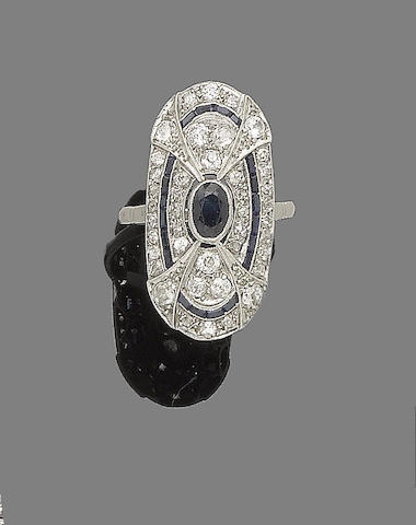 A sapphire and diamond plaque ring,