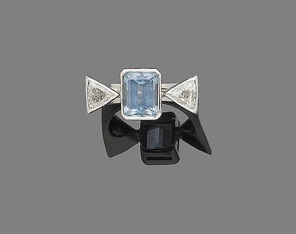 An aquamarine and diamond ring,