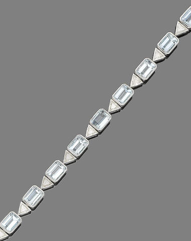 An aquamarine and diamond bracelet