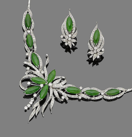 A jade and diamond floral necklace and earring suite (2)
