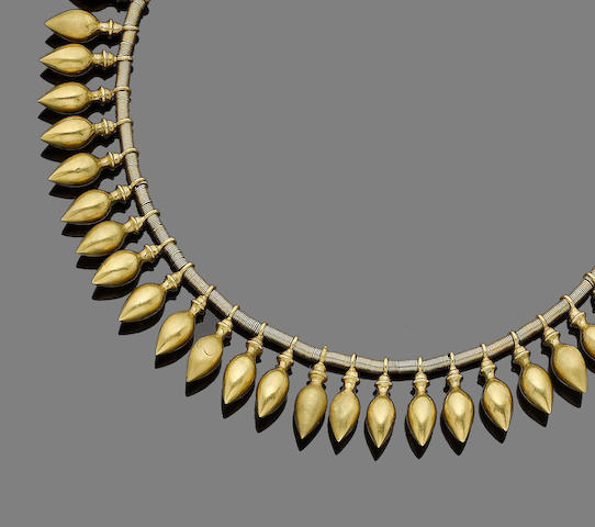 An archaeological revival gold fringe necklace,