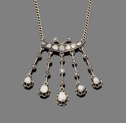 A 19th century diamond fringe necklace