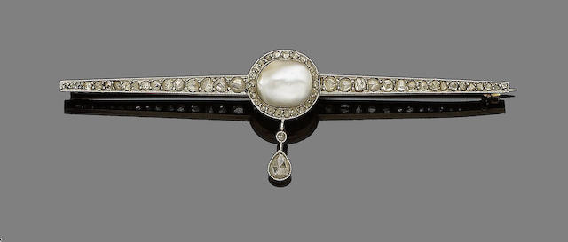 An early 20th century pearl and diamond bar brooch