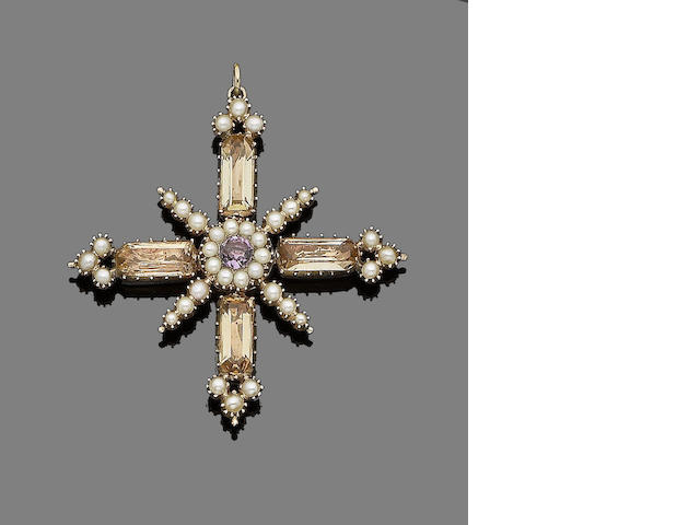 A gold, topaz, seed pearl and amethyst cross pendant,