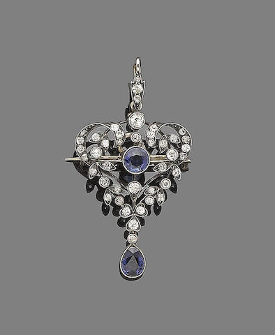 A sapphire and diamond pendant/brooch,