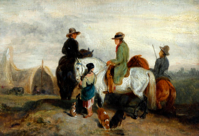 Charles Hancock (British, 1802-1877) 'The Squire's Visit to the Gipsies'