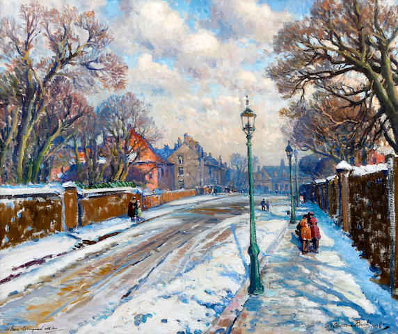 Samuel John Lamorna Birch, R.A., R.W.S., R.W.A. (British, 1869-1955) Bentinck Road and the Old General Infirmary under snow, Newcastle on Tyne
