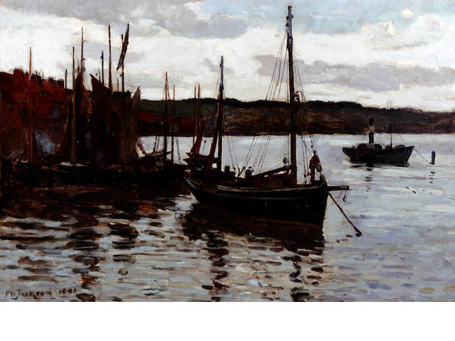 Frederick William Jackson (British, 1859-1918) Fishing boats in Staithes harbour
