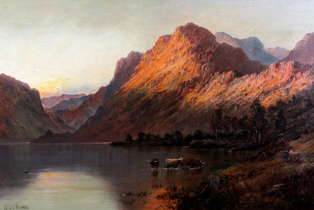 Alfred de Bréanski Snr. (British, 1852-1928) 'Sunset' - near Arrochar, N.B.'