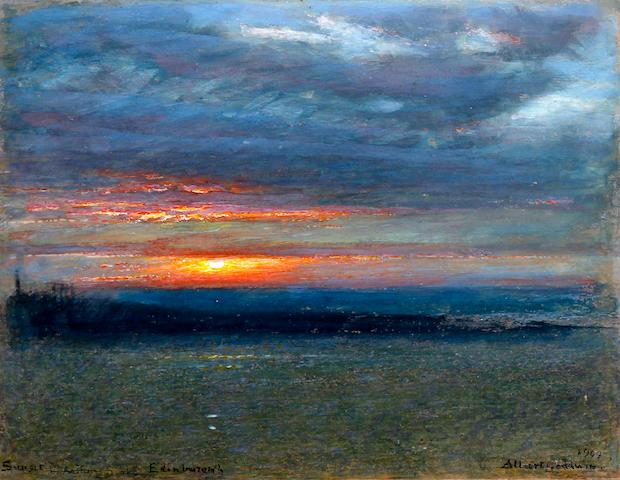 Albert Goodwin, RWS (British, 1845-1932) 'Sunset, Arthur's Seat, Edinburgh'