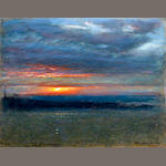 Albert Goodwin, RWS (British, 1845-1932) 'Sunset, Arthur's Seat, Edinburgh'