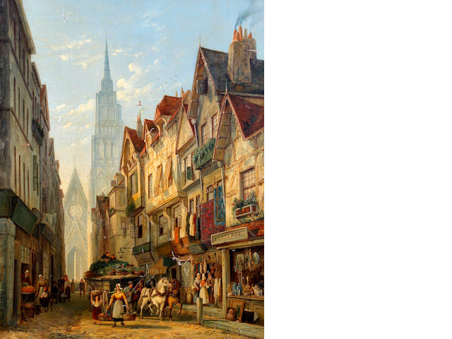 William Raymond Dommersen (Dutch, 1850-1927) Rouen street scene