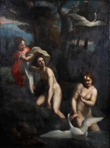 Dutch School, or German School (circa 1800) Maidens bathing with swans