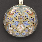 A late 19th century Russian silver-gilt and enamelled sifter spoon maker's mark HC Moscow