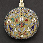 A late 19th century Russian silver-gilt and enamelled  sifter spoon maker's mark HC, Moscow