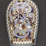 A Russian silver, silver-gilt and enamelled caddy spoon maker's mark possibly GH, Moscow 1891
