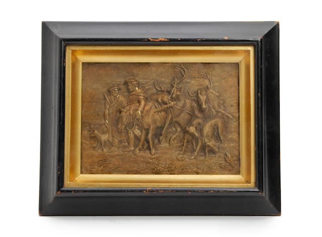 After J. Holt: A late 19th century gilt metal wall plaque of a Highland hunting scene, in the manner of Edwin Henry Landseer