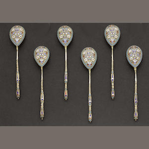 A matched set of six silver-gilt and enamelled teaspoons by Gustav Klingardt, Moscow 1893  (6)