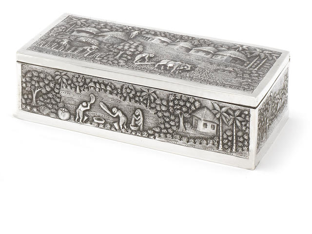 A late 19th century Indian silver  cigarette box  by Grish Chunder Dutt, Calcutta, circa 1890